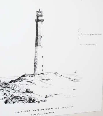 Drawing of the first Beacon at Hatteras - Public Domain 1870