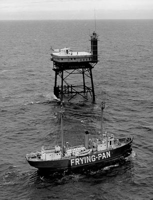 Frying Pan Shoals Tower relieving lightship. - Copyright 1964 USCG