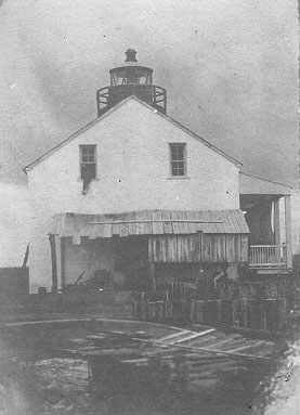 East Pascagoula River Light Station with original lantern - Public Domain 1854 USCG