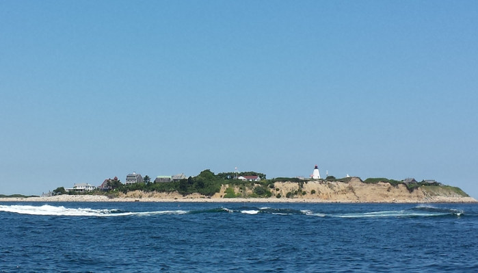 Gurnet Point Light seen from Plymouth Bay - Copyright 2014 Brent Putnam