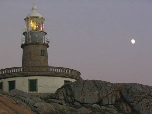 Cabo (Cape) Corrubedo with Moon - Copyright 2007 Creative Commons