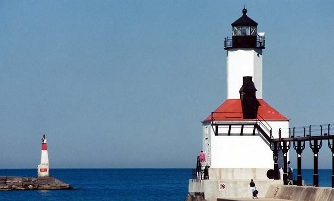 Michigan City Light house and Breakwater light - Copyright 2014
